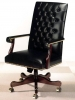 Indiana Furniture - Montara series black vinyl leather grain pattern royal mahogany wood #511