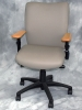 Indiana Furniture - Syntric grey leather swivel chair with clear maple arms #488