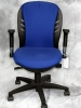 Nightingale - Mid-back office chair with arms and royal blue fabric / black arms and base #502