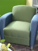 HPFI -  Accompany metal club chair lounge seating blue and green fabric