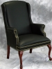 Indiana Furniture - Breman guest chair traditional mahogany finish with black leather and brass nail trim 594