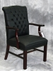Indiana Furniture - Larson royal mahogany wood guest chair tufted back black leather 600