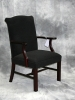 Indiana Furniture - Larson wood guest chair royal mahogany finish with epingle stripe fabric 601