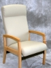 IOA - Catesby Rocker healthcare highback patient chair maple wood and light gray vinyl 603