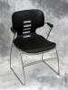 Trendway - M11 stack chair black shell chrome arms and base 609