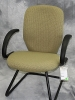 United Chair - Savvy fixed arm sledbase guest chair green leaf fabric and black frame 613