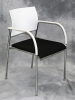 VDS International - Emo 4-leg arm chair white arms and back black fabric seat chrome frame 614