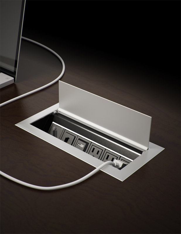 Byrne Ellora series work surface desk power data outlet