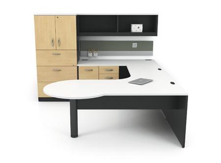 U-shaped office suite laminate finish Artopex Take-Off Series