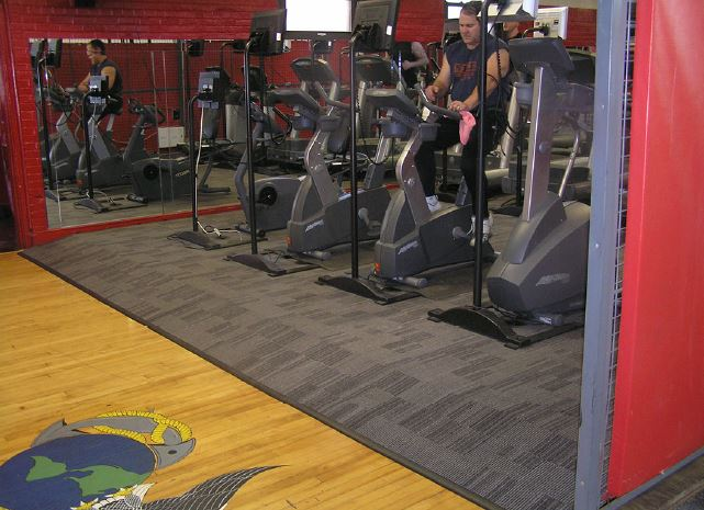 Fitness center gym Powerflor raised access flooring installation