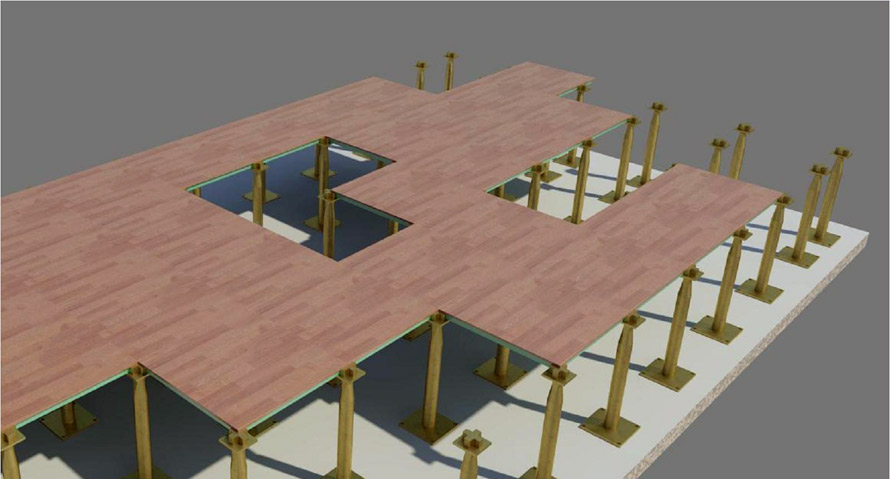 Access flooring panels detail rendering image