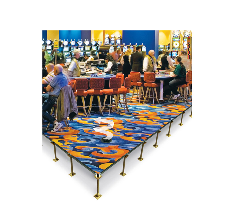Raised access floor system (casino installation)