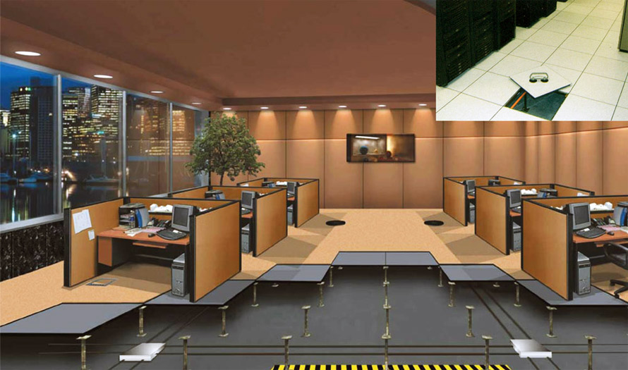 Raised flooring office setting rendering