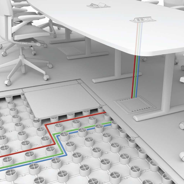 Low profile raised access floor system diagram image Kiva flex