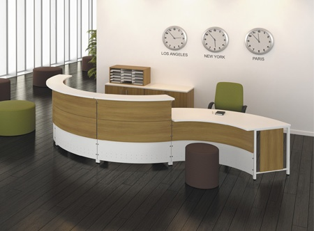 Artopex curved reception station RC3 series white and moka finishes