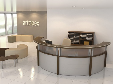 Artopex RC1 reception desk station in chestnut finish