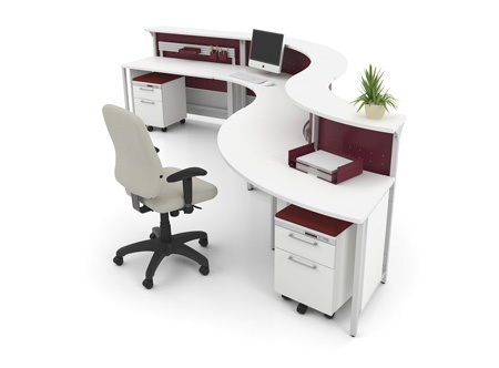 Artopex rc3 reception station with mobile pedestals