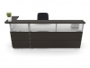 Artopex reception desk dark oak finish with frosted acrylic RC3