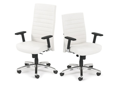 Artopex Sentinel white leather highback and midback task chairs