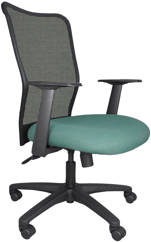 Black mesh back office chair fabric seat Buzz seating Melo chair