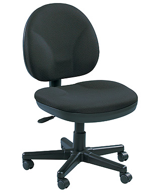 Armless black fabric upholstered task chair Eurotech O400