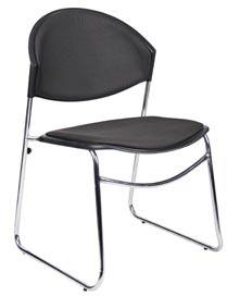 Black padded stack chair - Boss