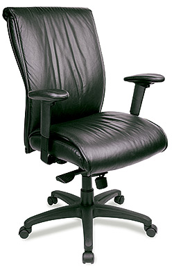 High pillow back black leather task chair Eurotech