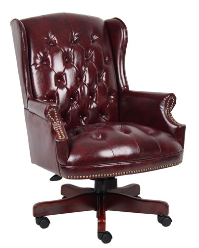 Leather oxblood executive desk chair