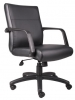 Black leather mid back task chair Boss