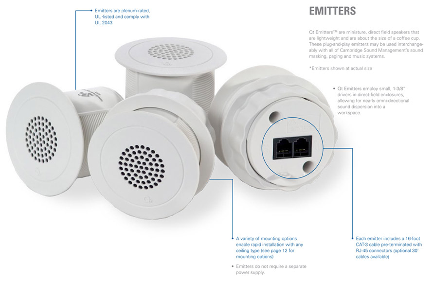 Acoustical management emitters ideal for maintaining office privacy
