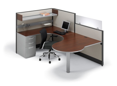 Artopex laminate office desk and metal mobile pedestal Take Off system