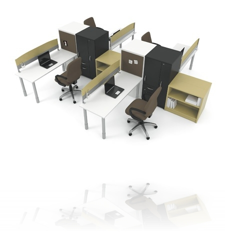 Artopex Take Off series freestanding cluster workstation for four