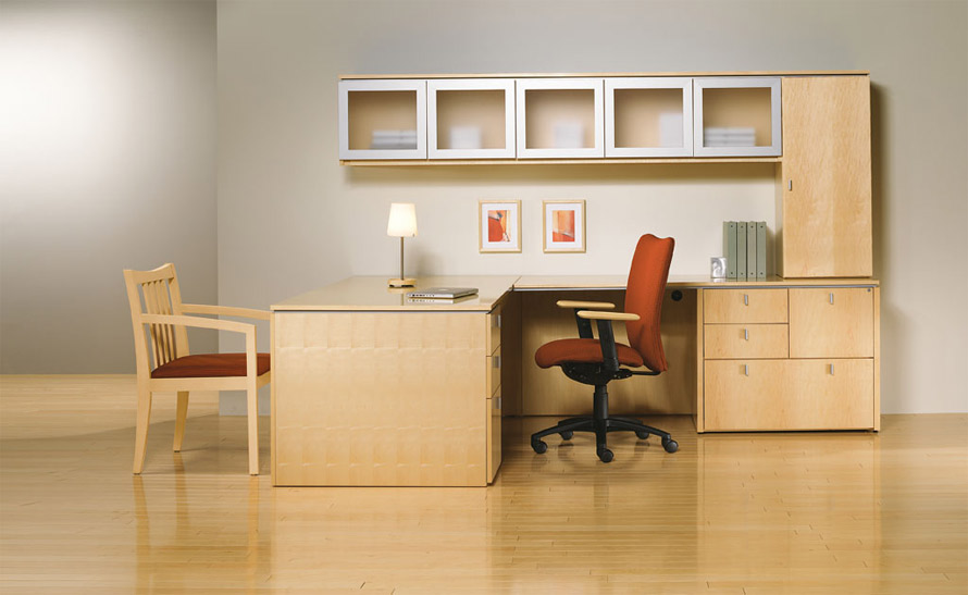 L-shaped office desk with storage credenza and filing Indiana Furniture
