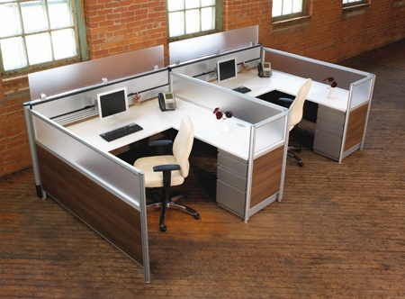 Laminate workstations with acrylic dividers Nano systems furniture Artopex