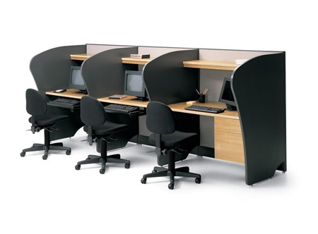 Telemarketing 3 person desk station cluster Artopex Take Off series