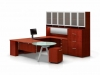 Free standing desk workstation with integrated glass table surface Nucraft Origin collection