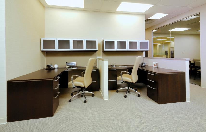 Veneer team workstations L-shaped desks Indiana Furniture