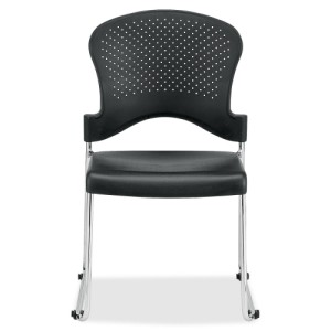 Eurotech S3000 Black Stacking Guest Chair with Glides and Ganging Clips