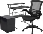 Contemporary Home Office Desk and Chair 3-Piece Set OF1BLN-CLIFCHPX5-BK-GG