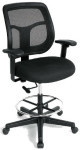 Eurotech Apollo Drafting Stool Chair DFT9800 Black Mesh and Black Fabric