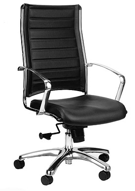 ... Eurotech Europa Leather High Back Black Leather Chair LE811 BLKL ...