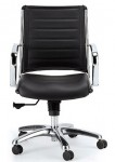 Eurotech Europa Leather Mid Back Black Leather Chair LE822-BLKL