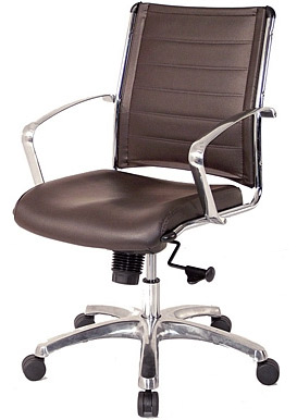 Eurotech Europa Leather Mid Back Brown Leather Chair LE822 BRNL ...