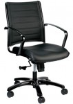 Eurotech Europa Metallic Mid Back Black Leather Chair LE222TNM-BLKL