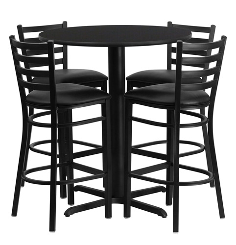 30\  Round Bar Height Black Laminate Dining Table Set with 4 bar stool chairs OF1HDBF1021 ...  sc 1 st  Office Furniture & Bar Height Round Dining Table Set with 4 Bar Stool Chairs