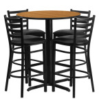 30in Round Bar Height Natural Laminate Dining Table Set with 4 bar stool chairs OF1HDBF1023-GG