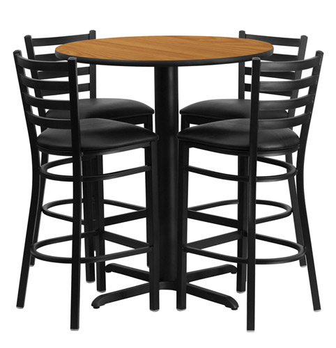 Round Table With Stools: Bar Height Round Dining Table Set With 4 Bar Stool Chairs