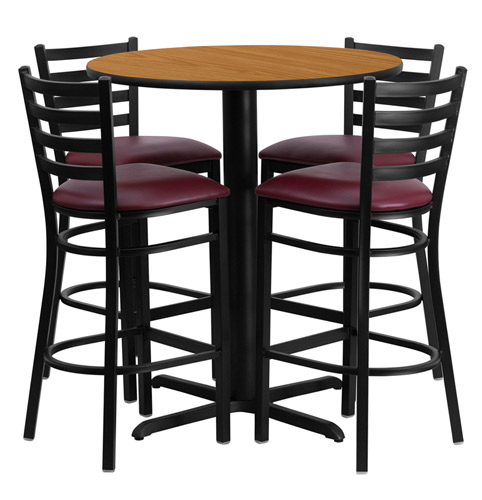 30 Round Bar Height Natural Laminate Dining Table Set With 4 Burgundy Chairs Of1hdbf1027