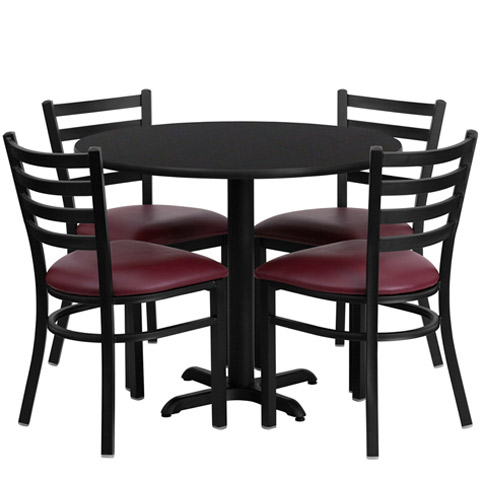 ... 36  Round Black Laminate Dining Table Set with 4 burgundy chairs ...  sc 1 st  Office Furniture & Cafeteria Breakroom Round Dining Table Sets-Restaurant Tables/Chairs