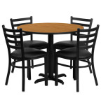 36 inch Round Natural Laminate Dining Table Set with 4 black chairs OF1HDBF1031-GG